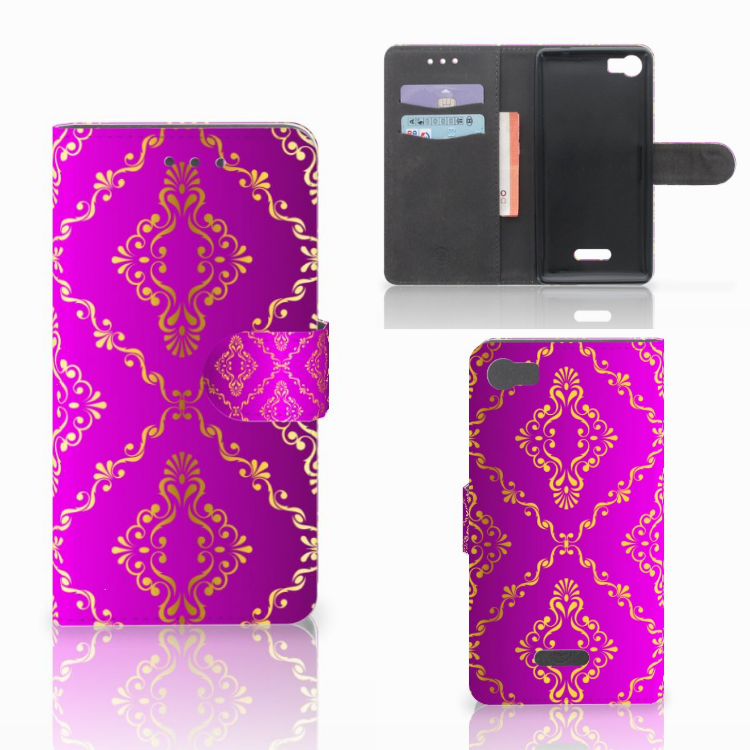 Wallet Case Wiko Fever (4G) Barok Roze