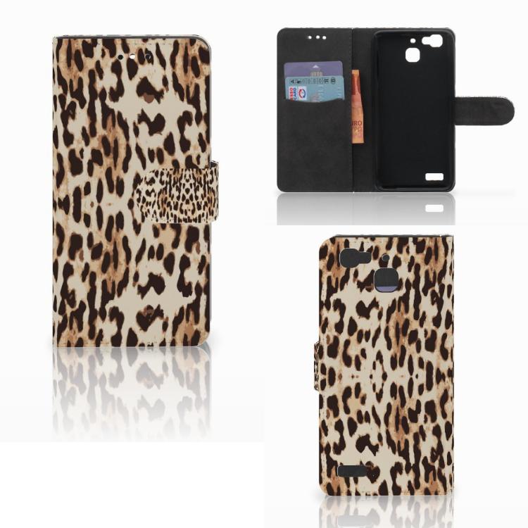 Huawei P8 Lite Smart (GR3) Telefoonhoesje met Pasjes Leopard