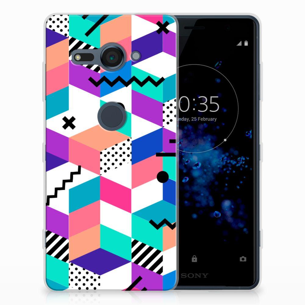 Sony Xperia XZ2 Compact TPU Hoesje Blokken Kleurrijk