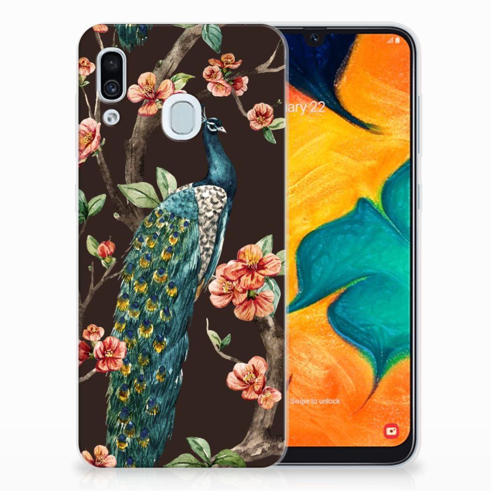 Samsung Galaxy A30 TPU Hoesje Pauw met Bloemen