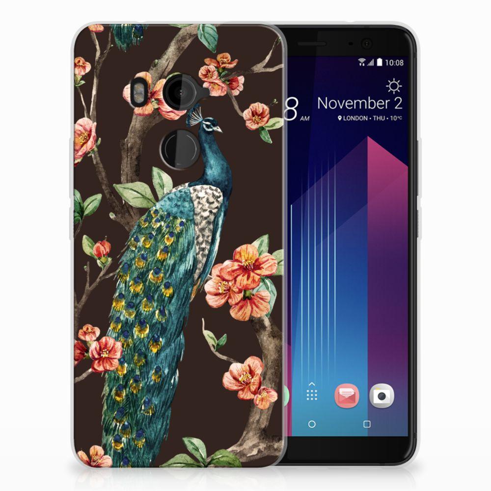 HTC U11 Plus TPU Hoesje Design Pauw met Bloemen
