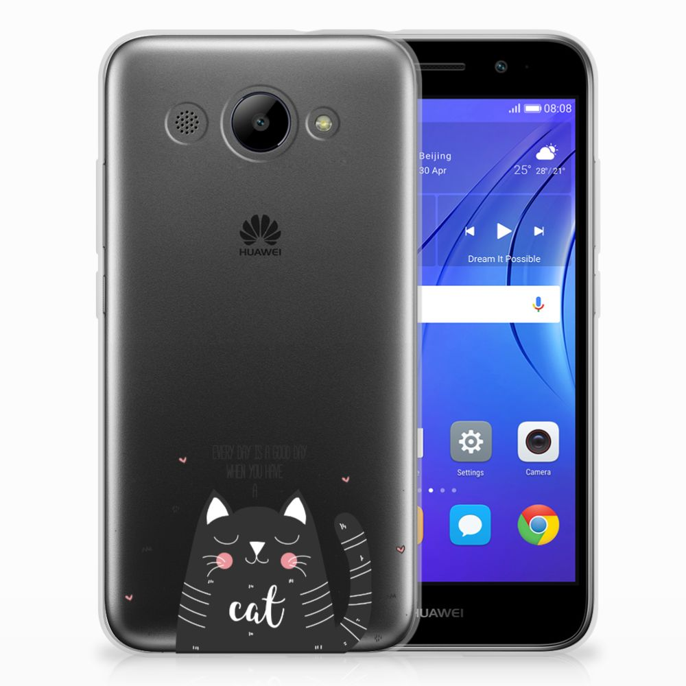Huawei Y3 2017 TPU Hoesje Design Cat Good Day