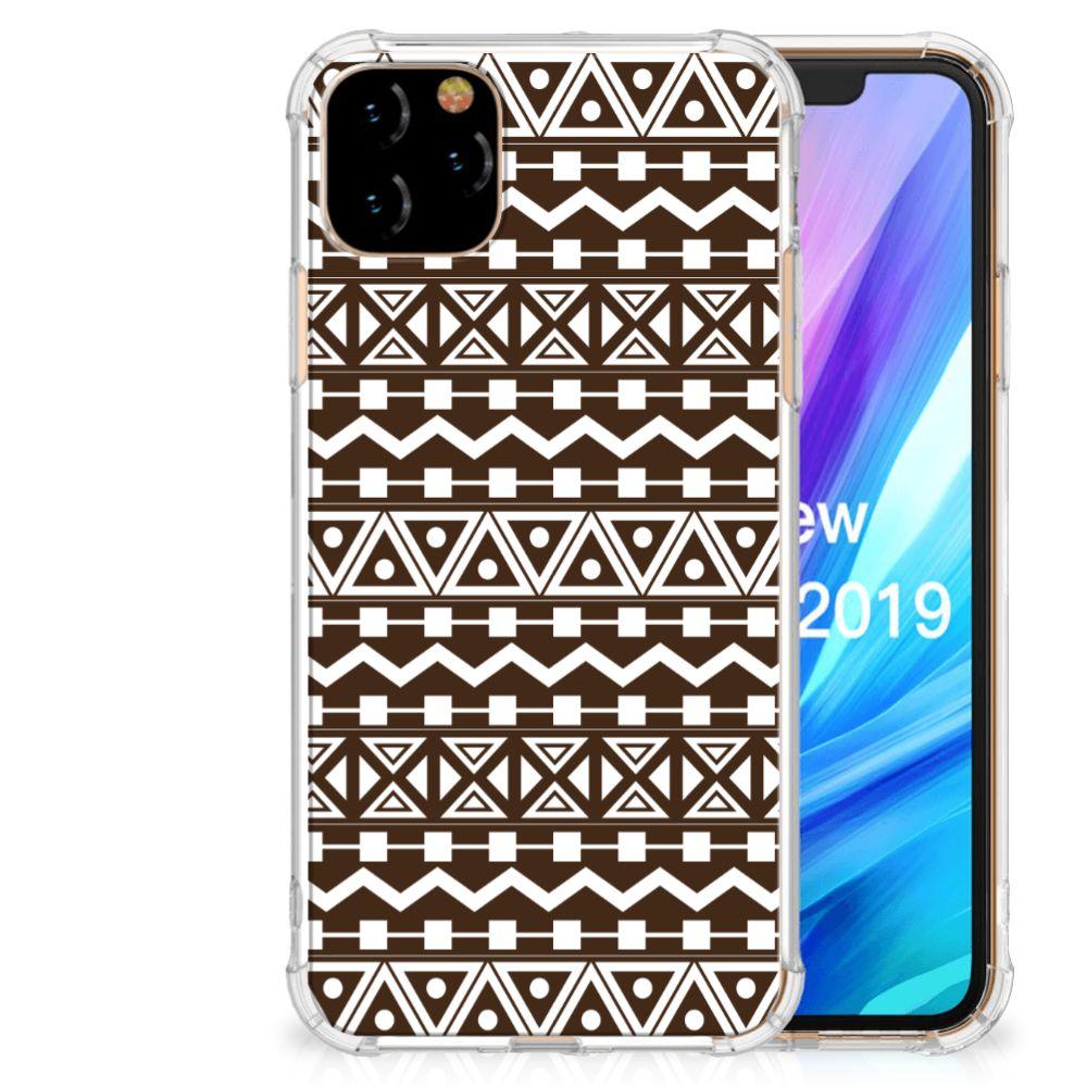 Apple iPhone 11 Pro Max Doorzichtige Silicone Hoesje Aztec Brown