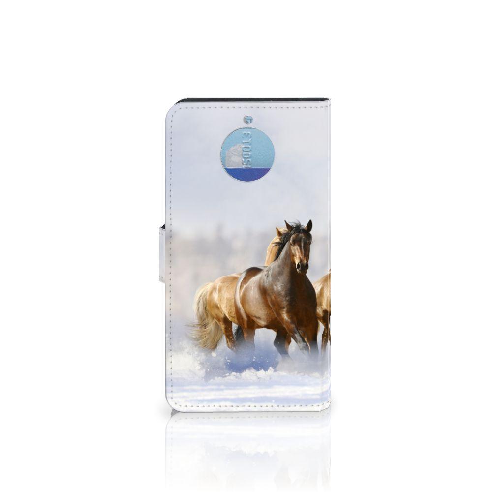 Motorola Moto G5S Plus Telefoonhoesje met Pasjes Paarden