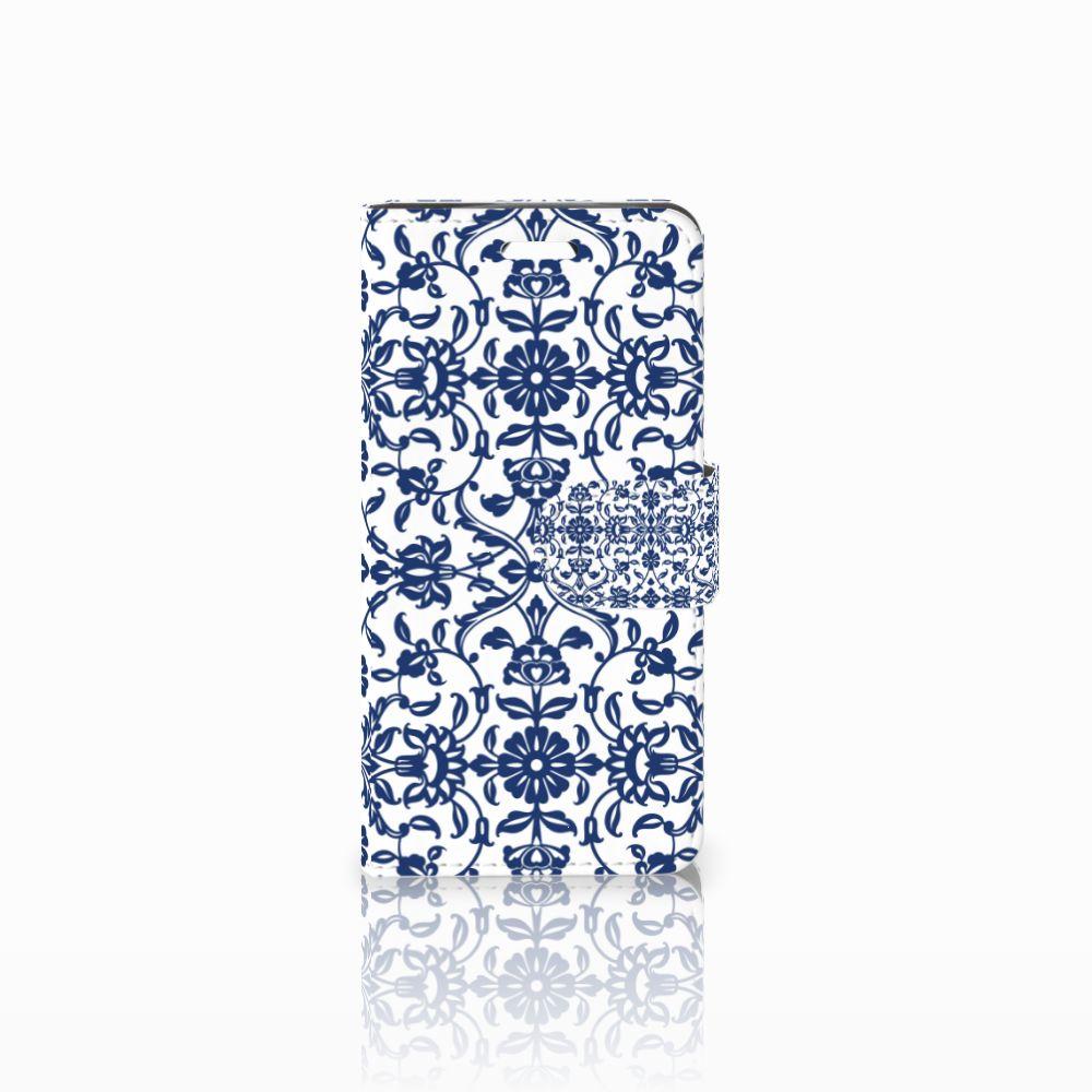 Acer Liquid Z330 Uniek Boekhoesje Flower Blue