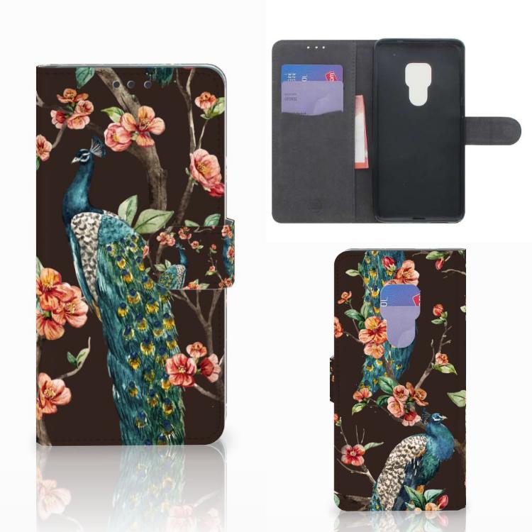 Huawei Mate 20 Telefoonhoesje met Pasjes Pauw met Bloemen
