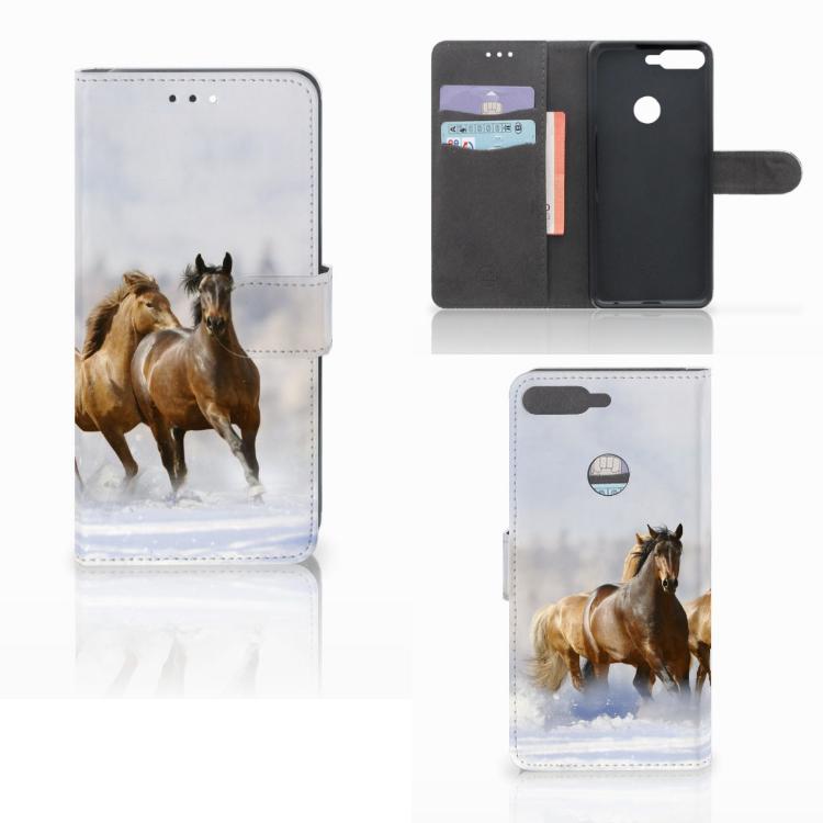 Huawei Y7 2018 Telefoonhoesje met Pasjes Paarden