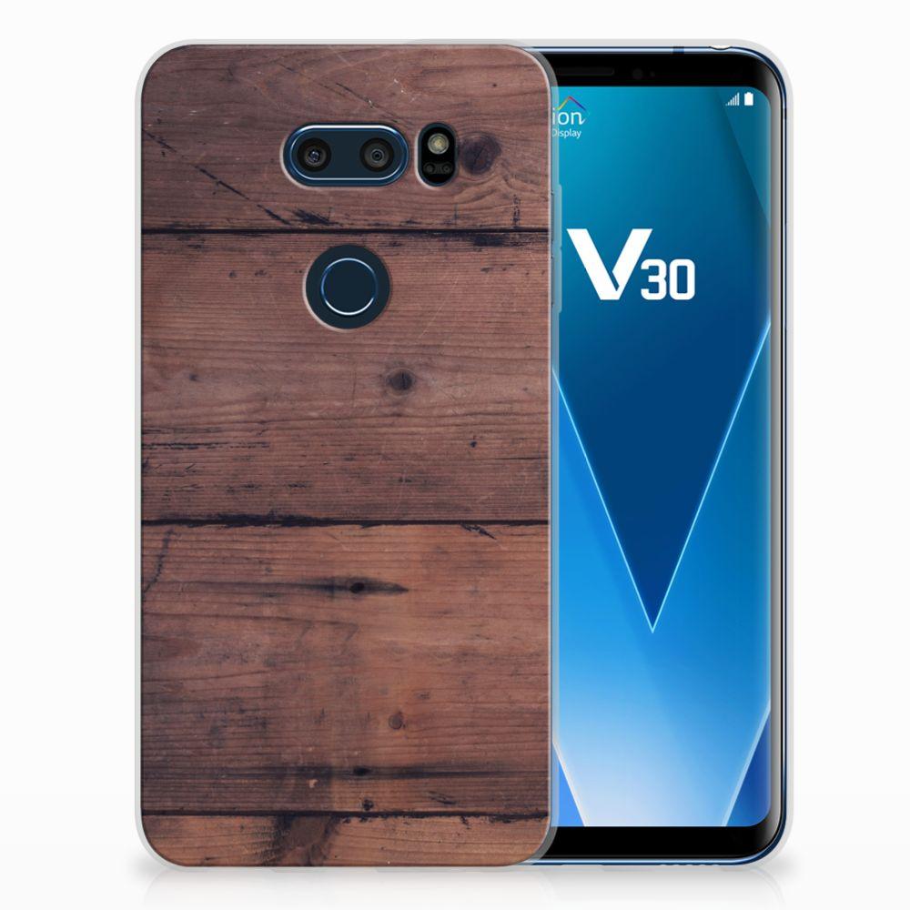 LG V30 Uniek TPU Hoesje Old Wood