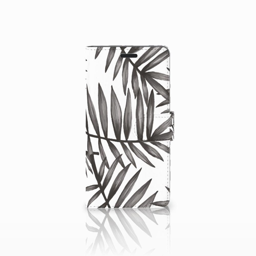 Samsung Galaxy A7 2015 Uniek Boekhoesje Leaves Grey