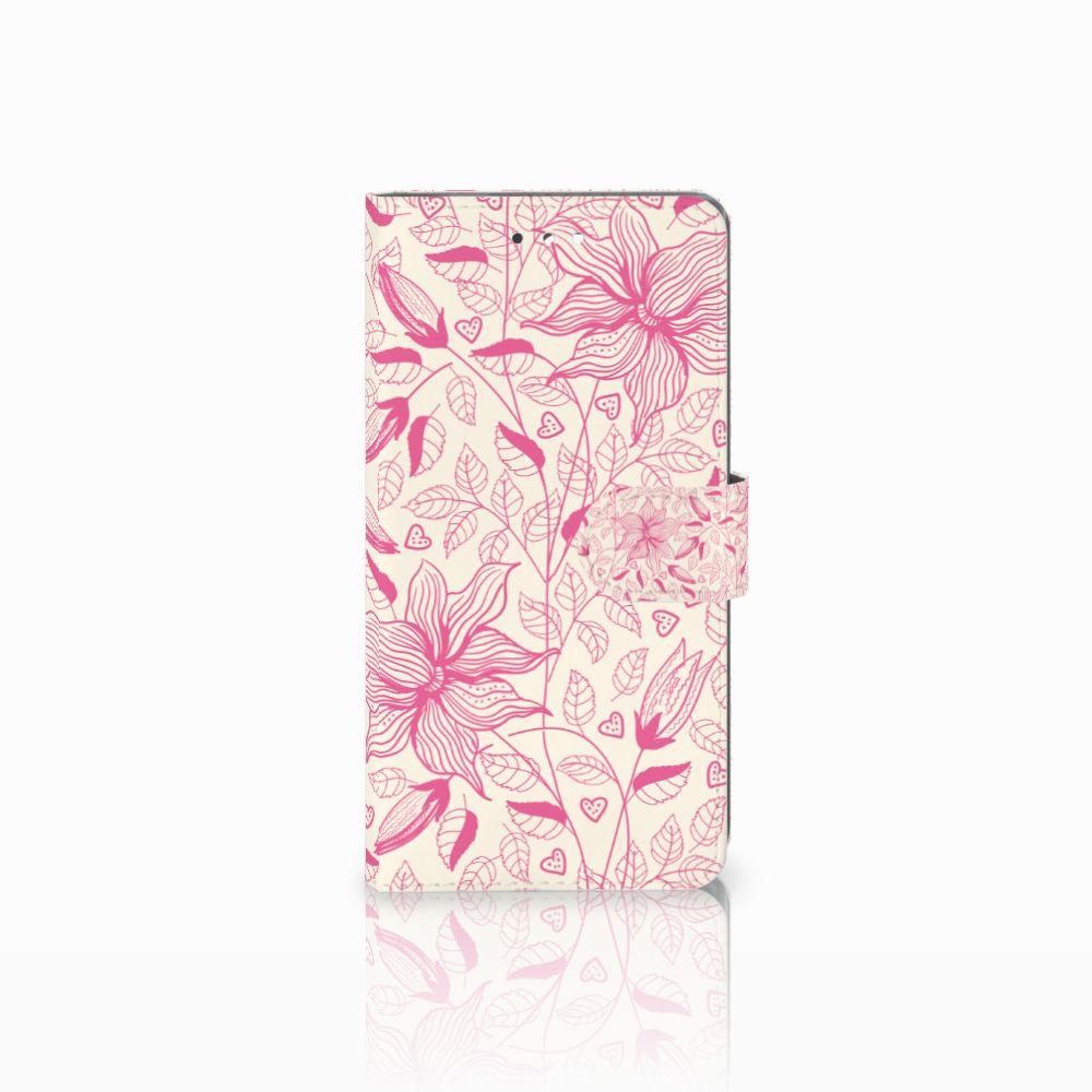 Sony Xperia XZ Premium Uniek Boekhoesje Pink Flowers