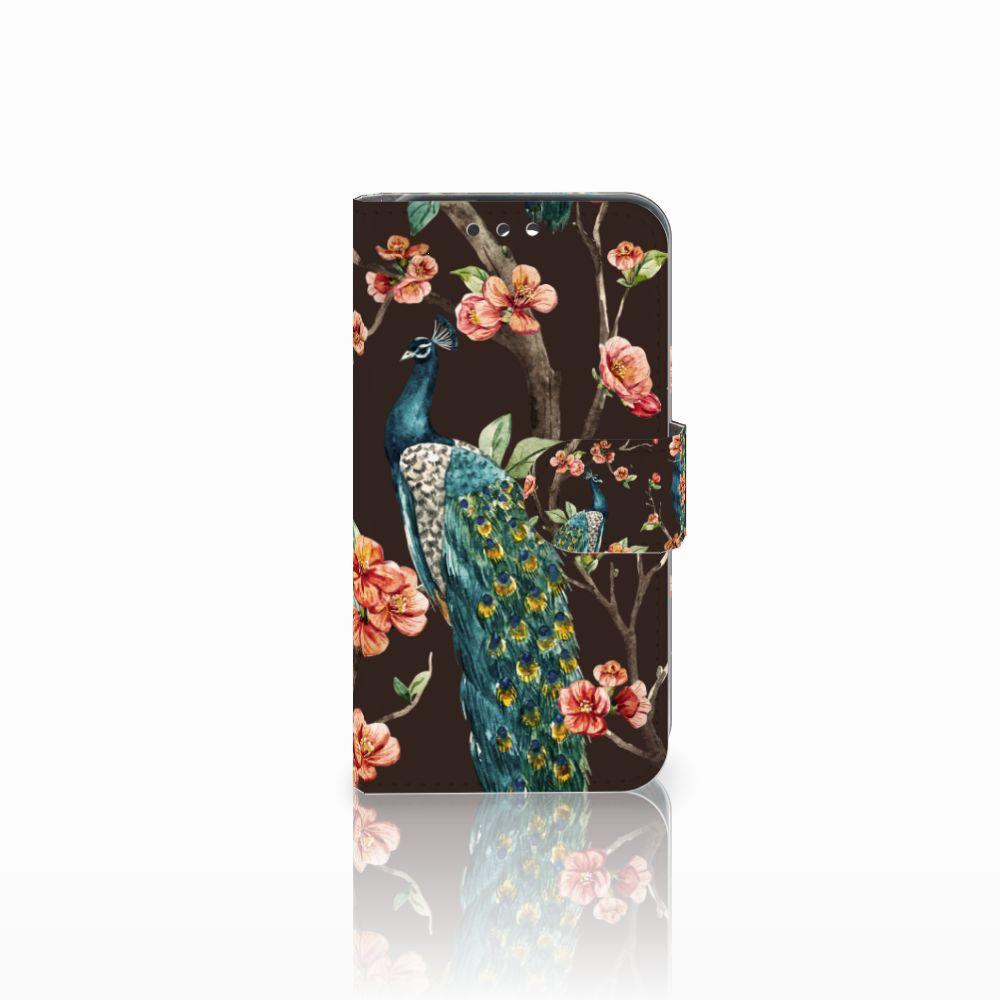 Huawei Y5 Y560 Telefoonhoesje met Pasjes Pauw met Bloemen