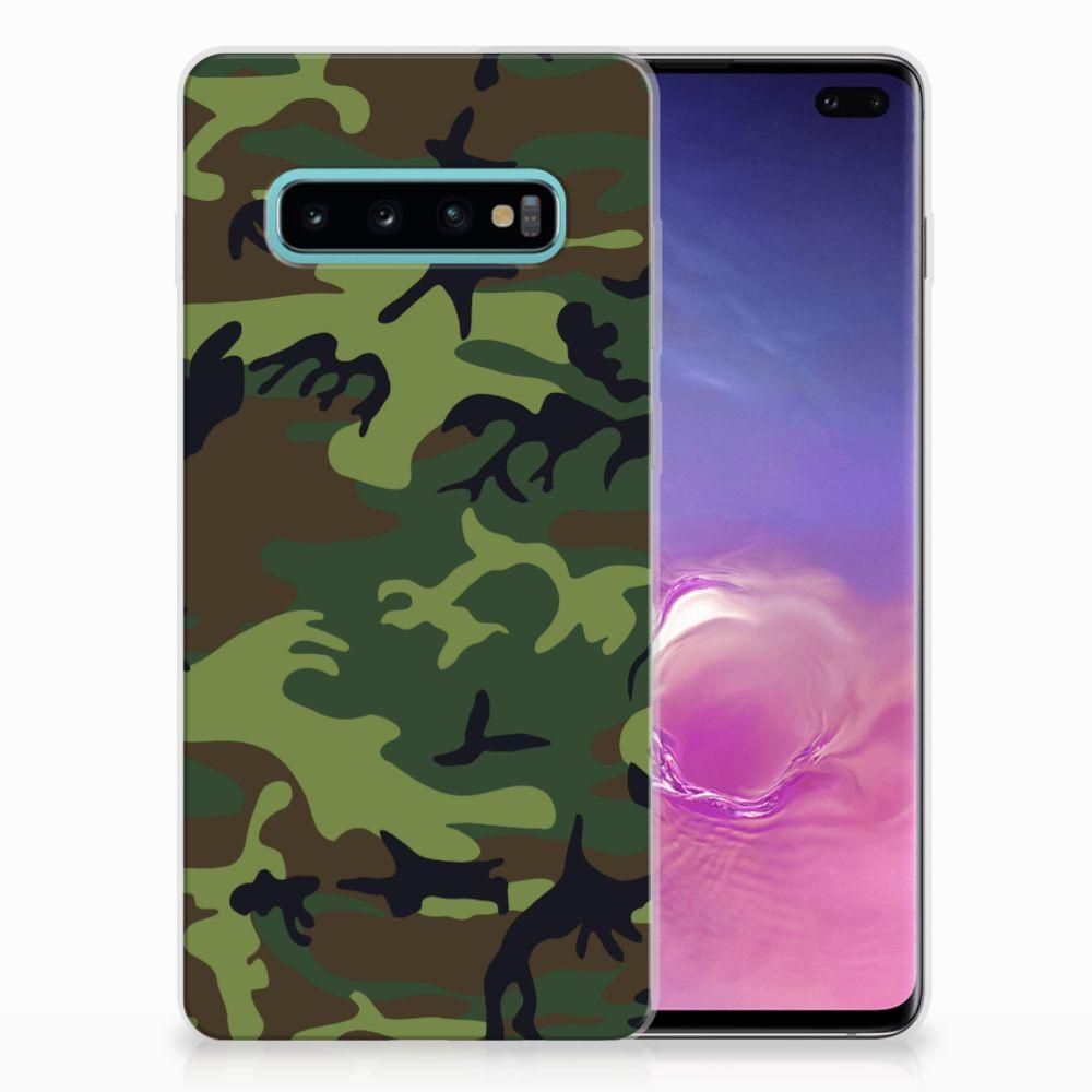Samsung Galaxy S10 Plus TPU Hoesje Design Army Dark