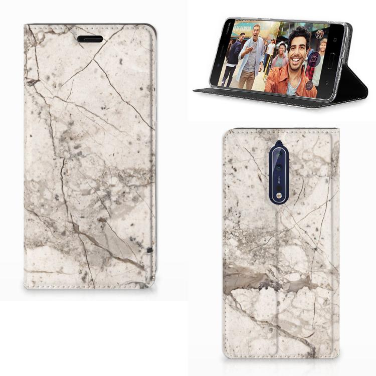 Nokia 8 Standcase Marmer Beige