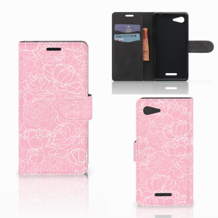 Sony Xperia E3 Wallet Case White Flowers