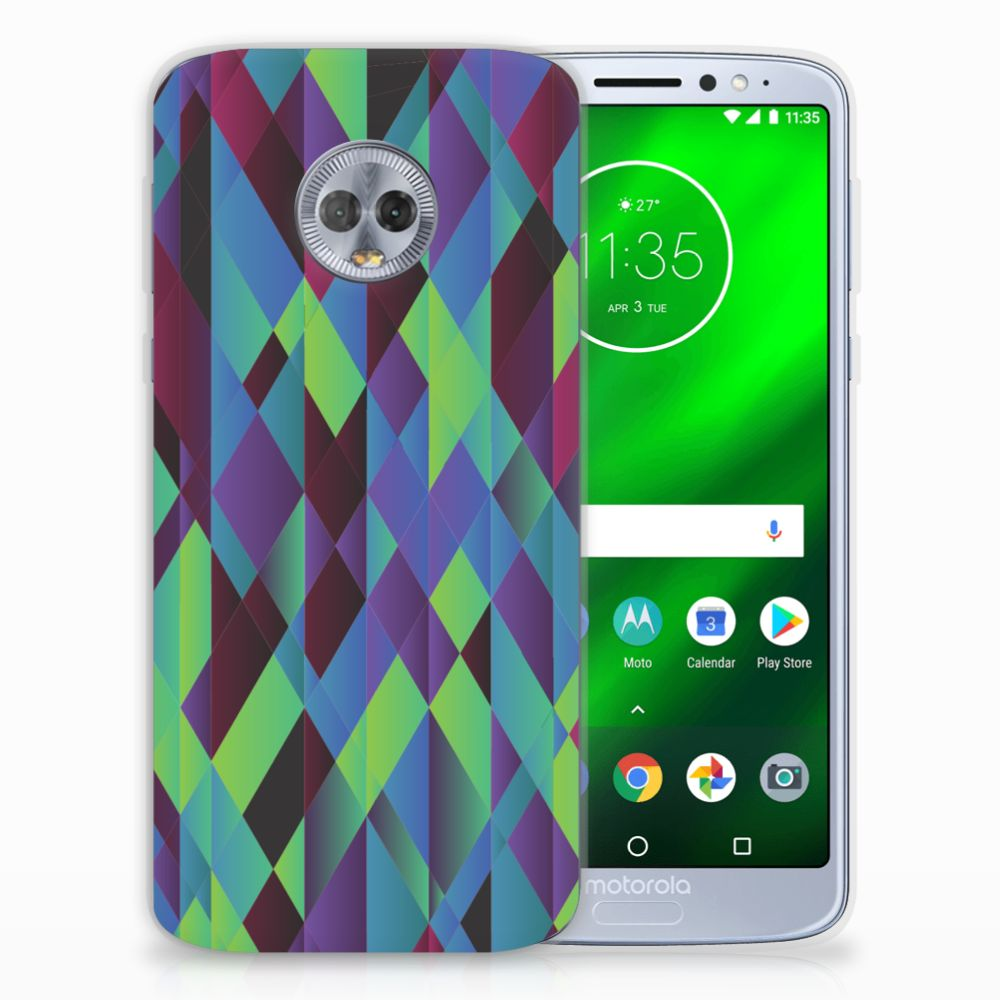 Motorola Moto G6 Plus TPU Hoesje Abstract Green Blue