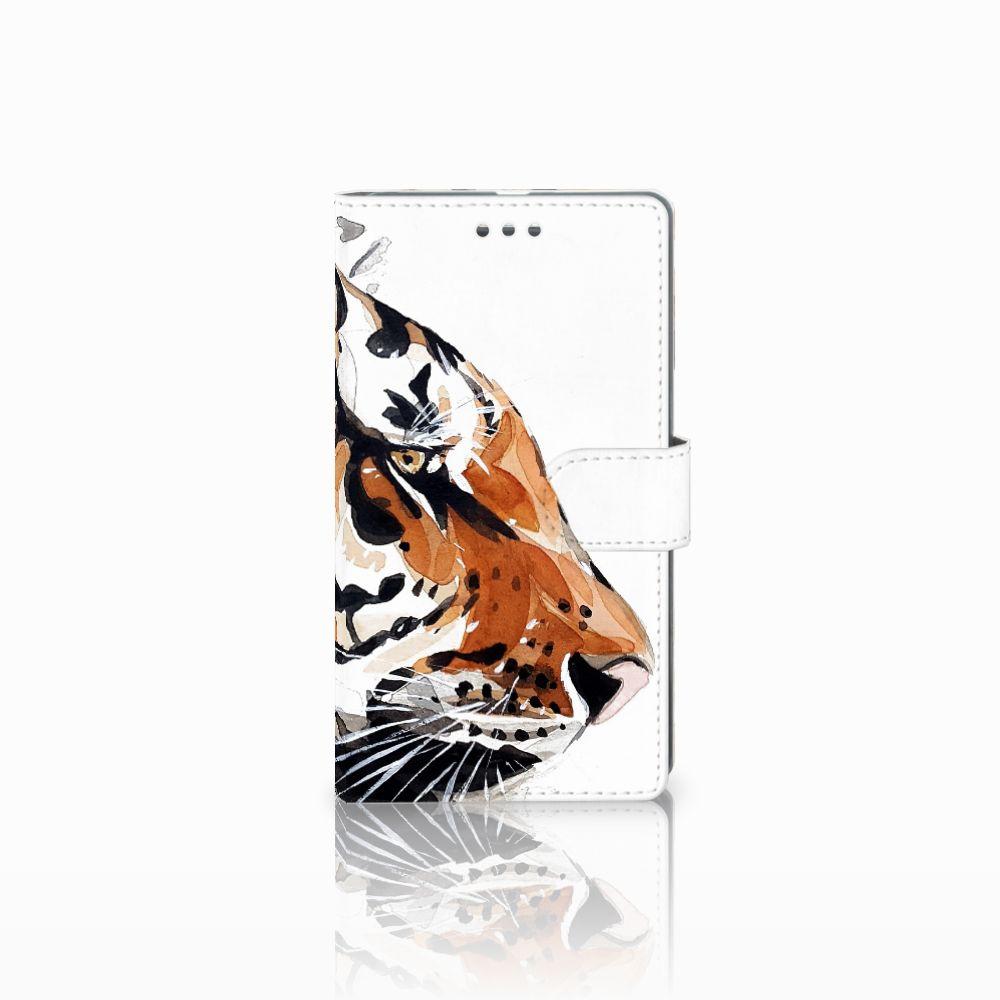 Microsoft Lumia 950 XL Uniek Boekhoesje Watercolor Tiger