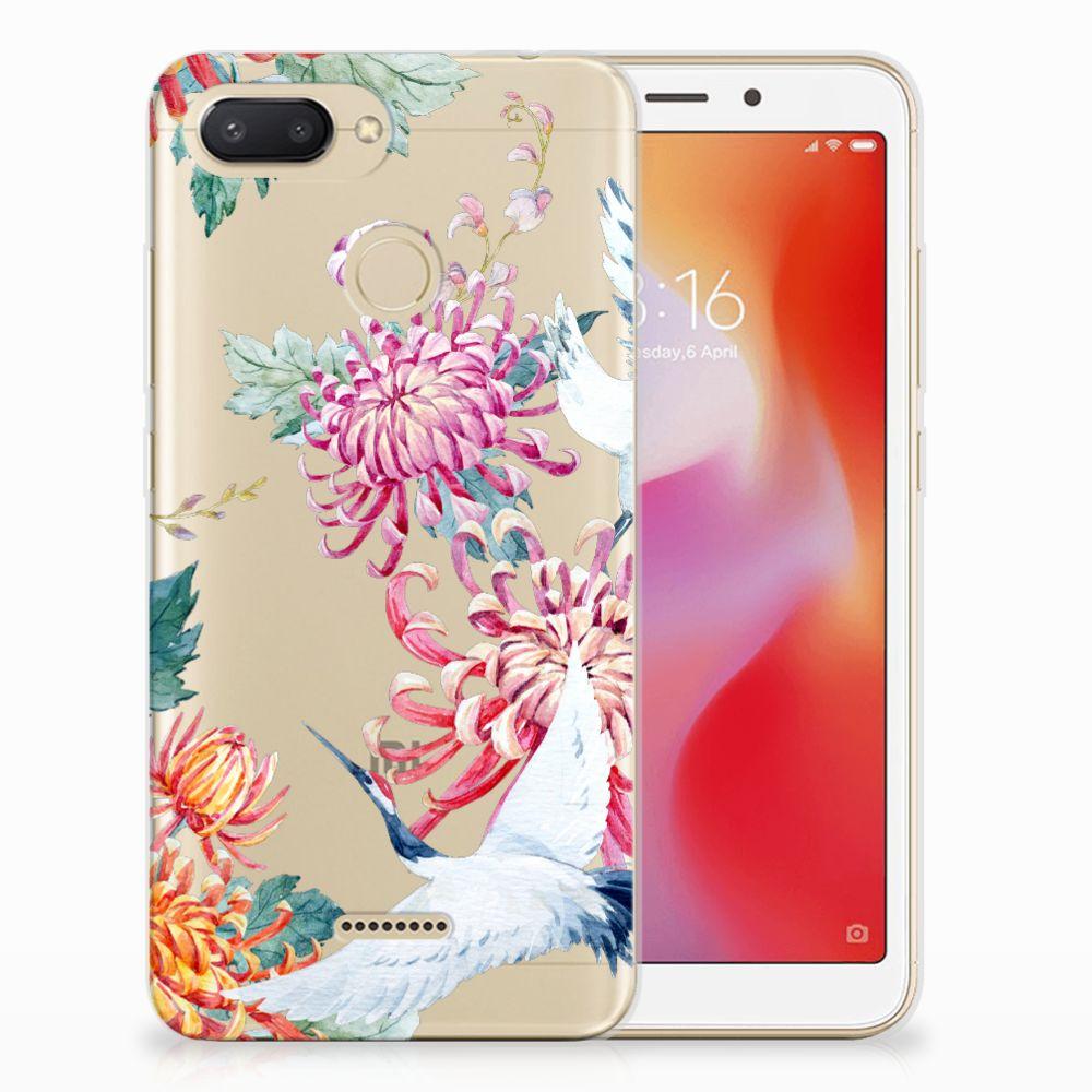 Xiaomi Redmi 6 TPU Hoesje Bird Flowers