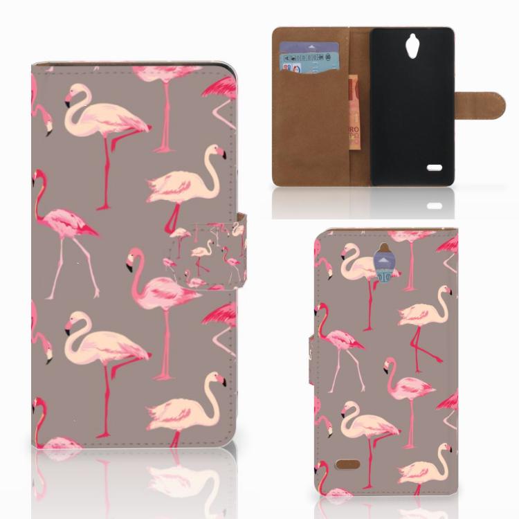 Huawei Ascend G700 Telefoonhoesje met Pasjes Flamingo