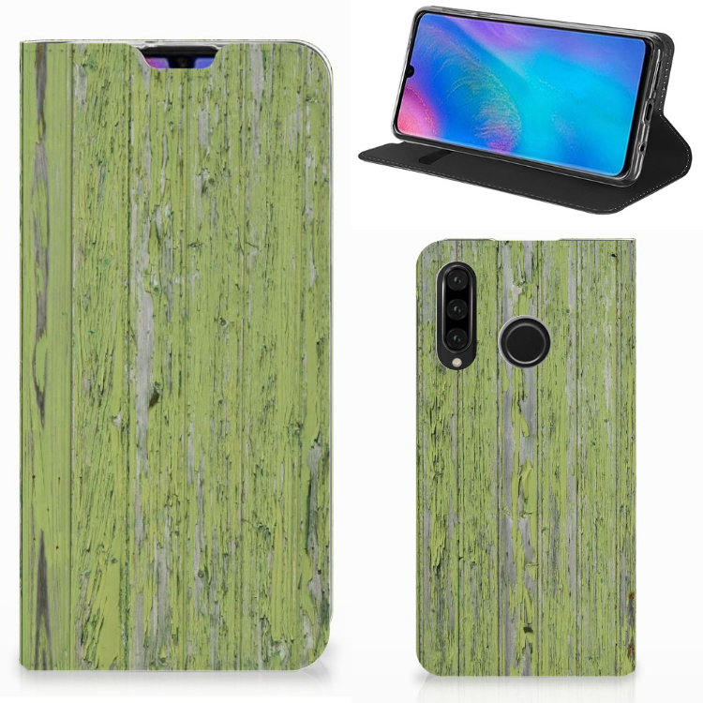 Huawei P30 Lite Book Wallet Case Green Wood