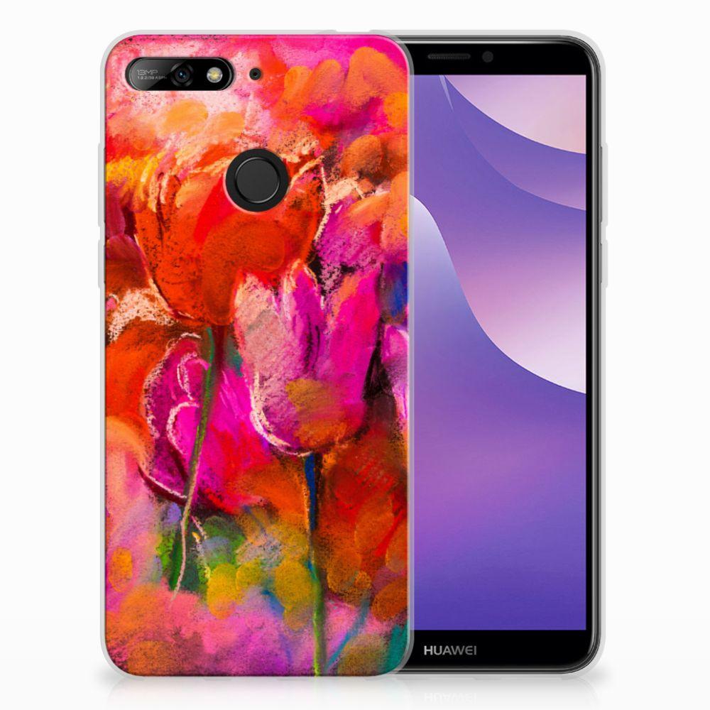 Huawei Y6 (2018) TPU Hoesje Design Tulips