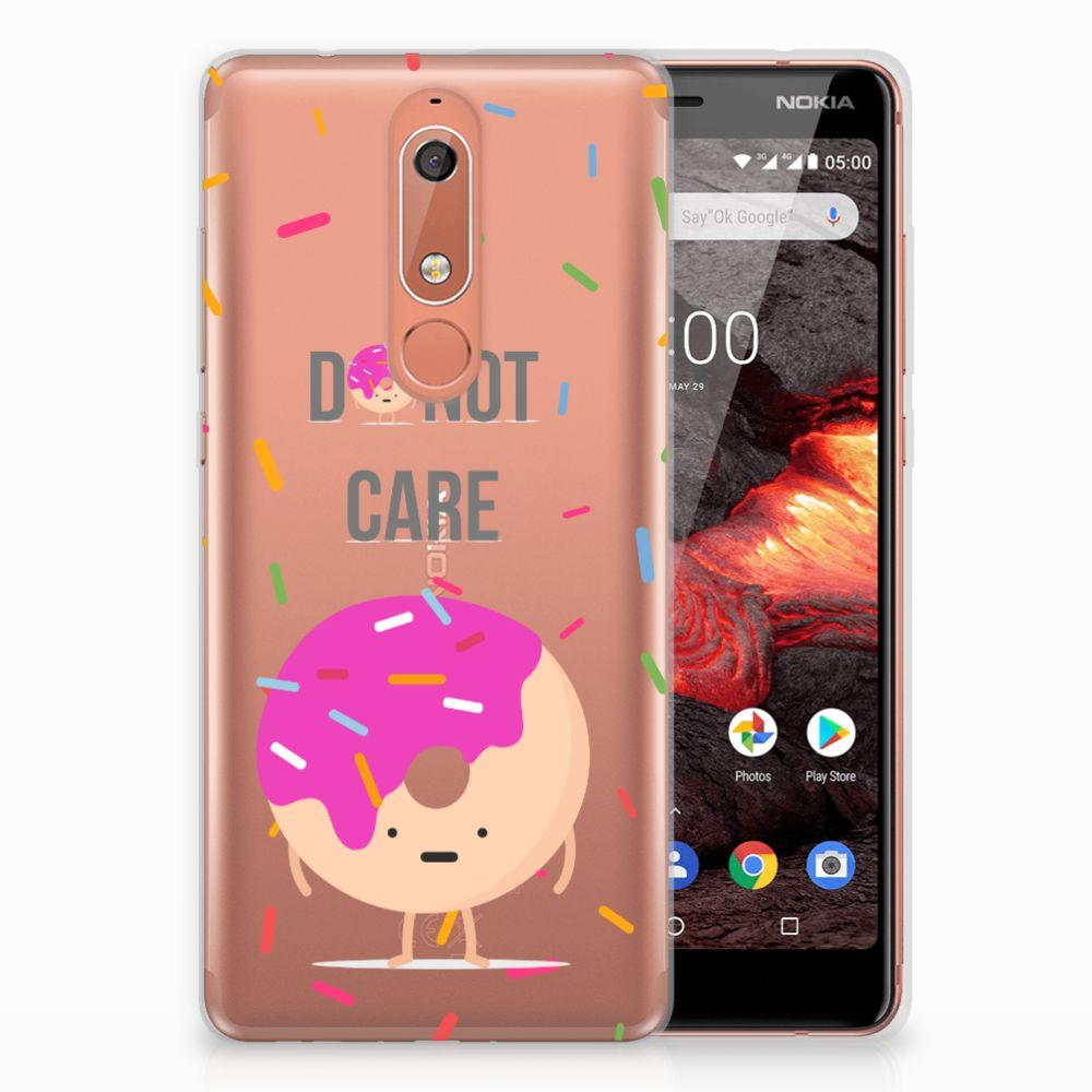 Nokia 5.1 (2018) Siliconen Case Donut Roze