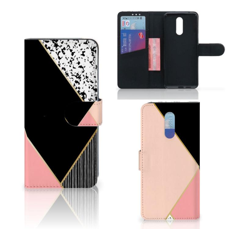 Nokia 3.2 Bookcase Zwart Roze Vormen