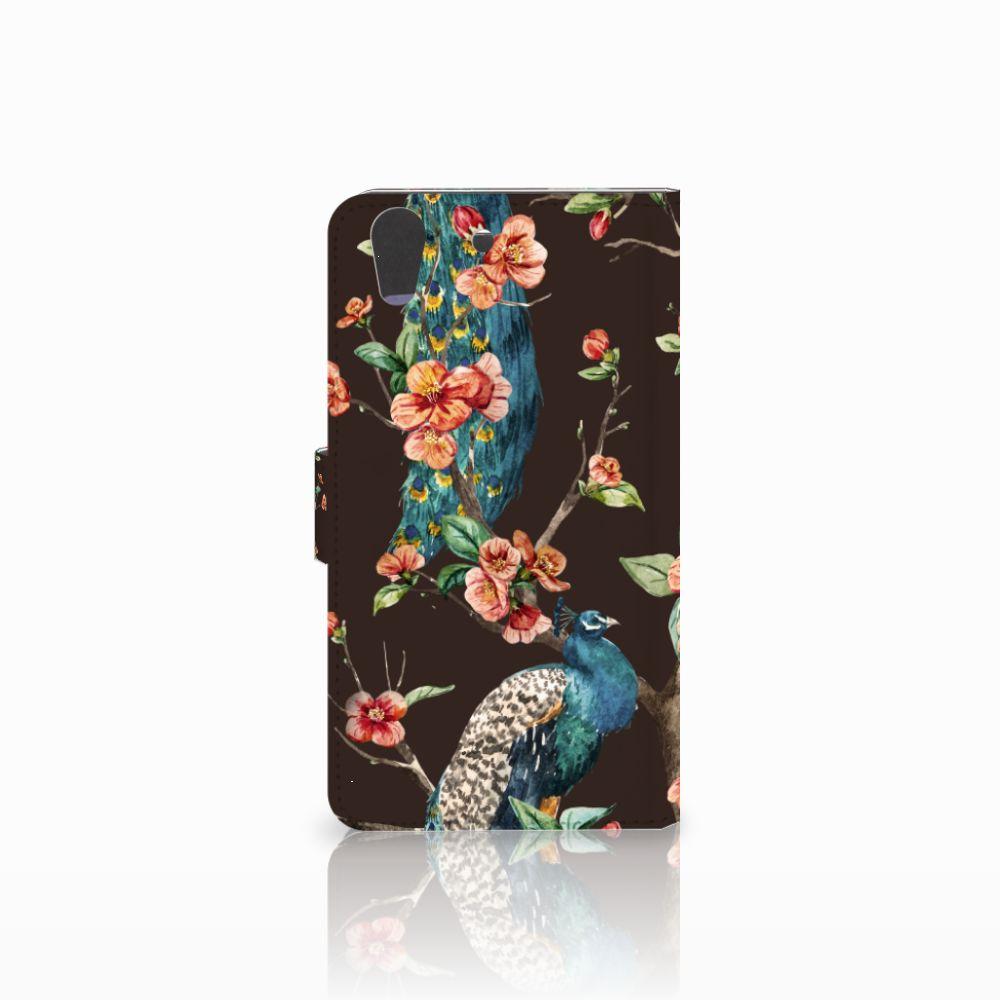 Huawei Y6 II   Honor 5A Telefoonhoesje met Pasjes Pauw met Bloemen