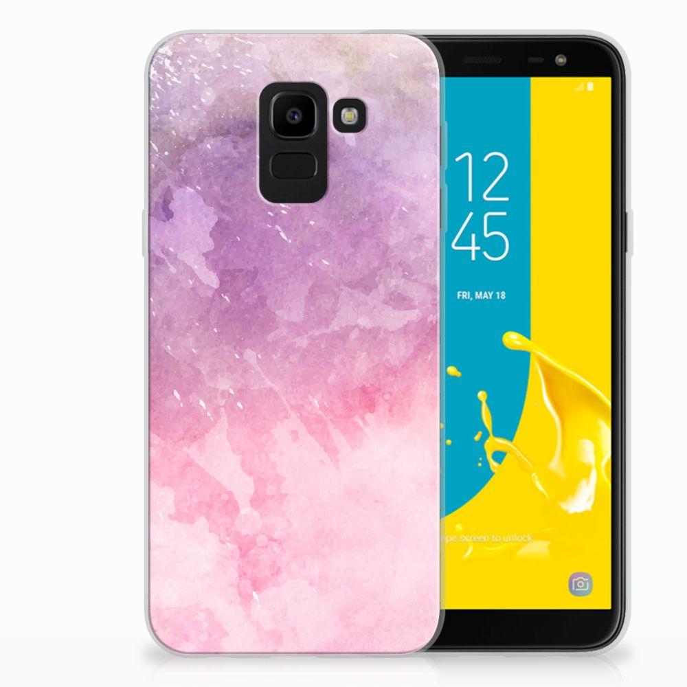 Samsung Galaxy J6 2018 TPU Hoesje Design Pink Purple Paint