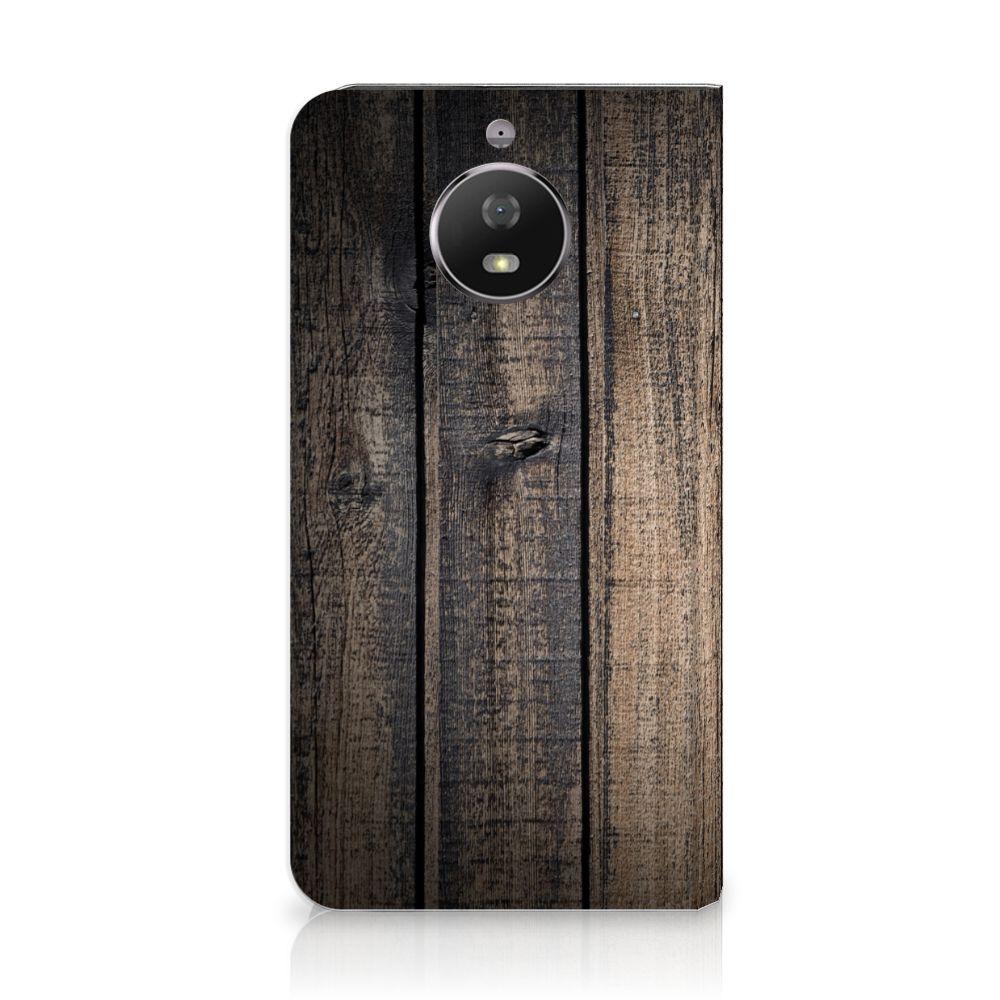 Motorola Moto G5S Standcase Hoesje Design Steigerhout