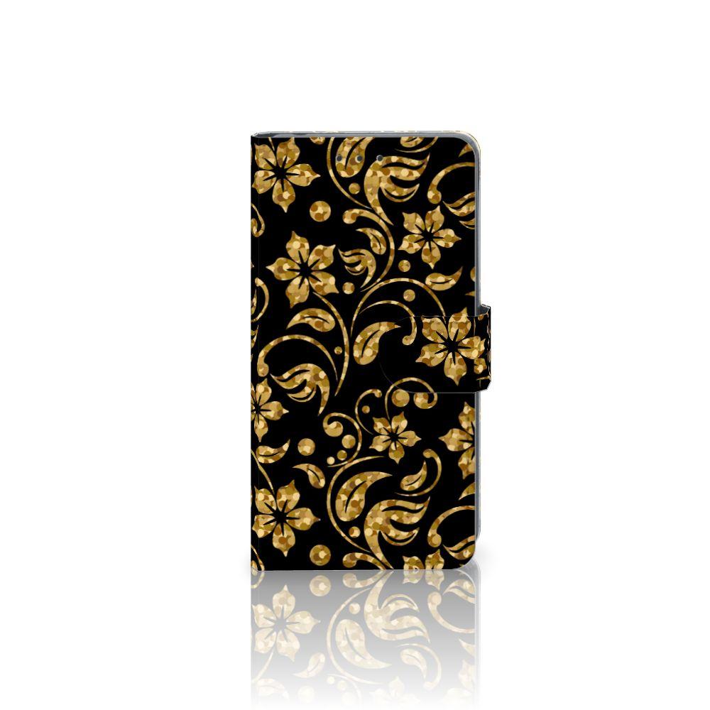 Sony Xperia Z2 Boekhoesje Design Gouden Bloemen
