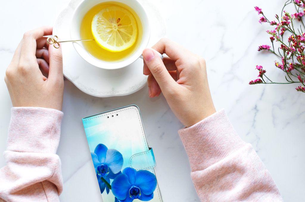 Samsung Galaxy A8 Plus (2018) Boekhoesje Design Orchidee Blauw