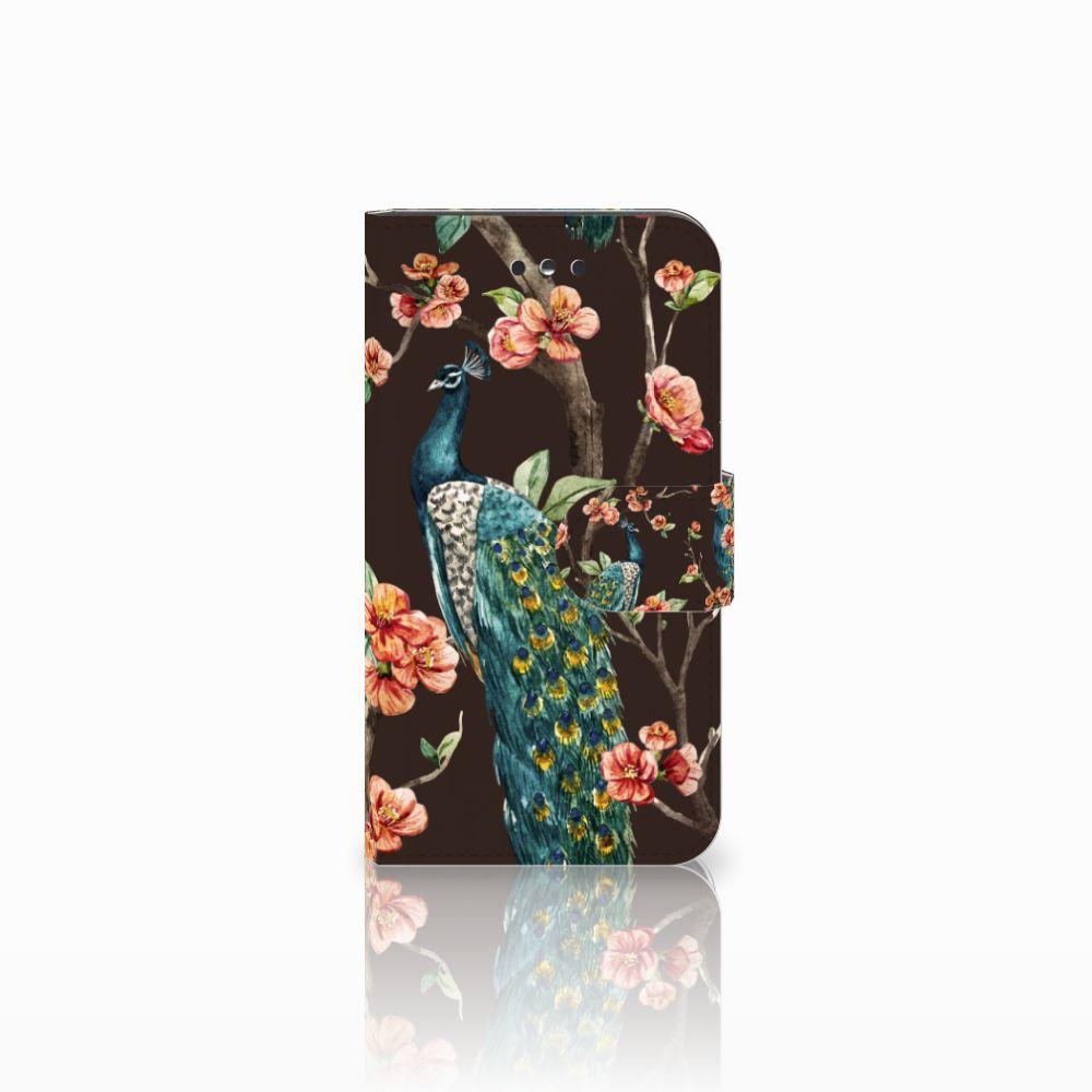 Nokia 1 Boekhoesje Design Pauw met Bloemen