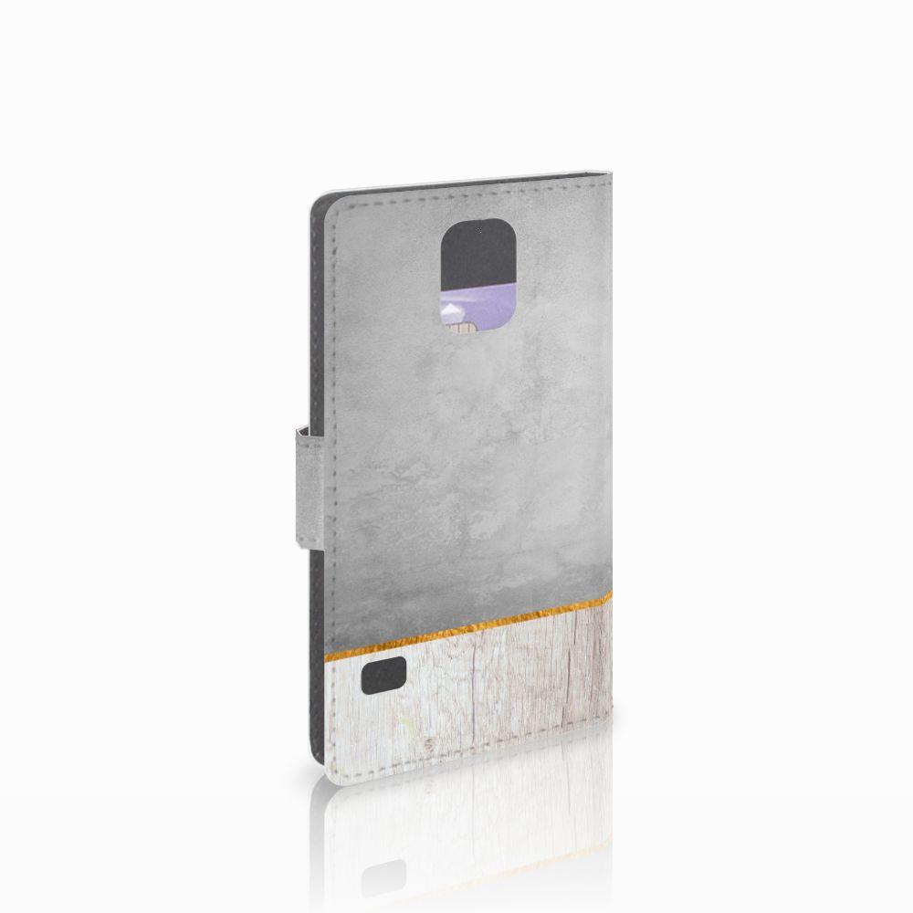 Samsung Galaxy S5 | S5 Neo Uniek Boekhoesje Wood Concrete