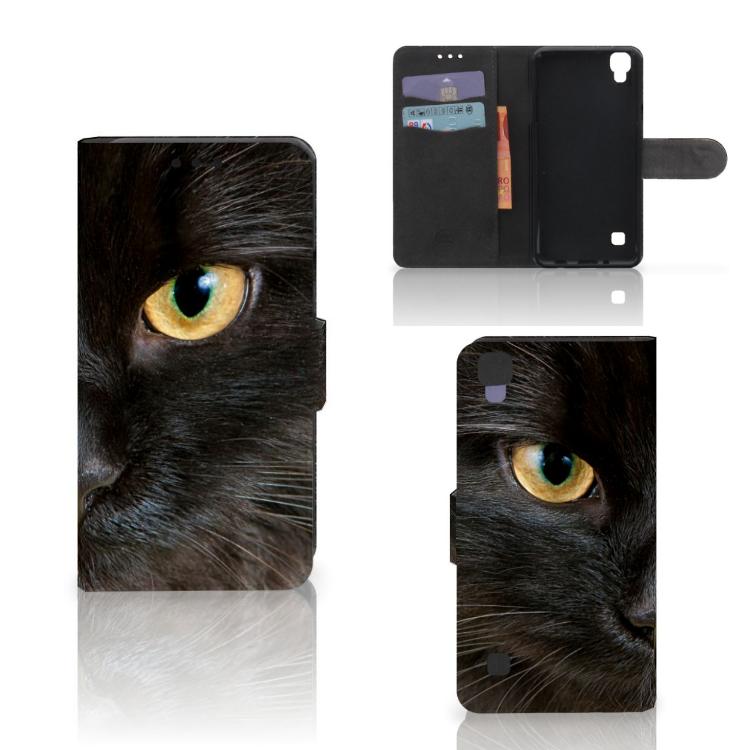 LG X Style Telefoonhoesje met Pasjes Zwarte Kat