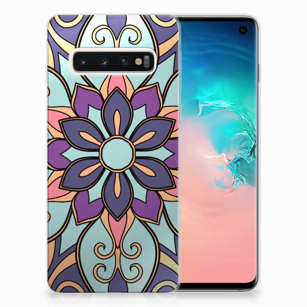 Samsung Galaxy S10 TPU Hoesje Design Purple Flower