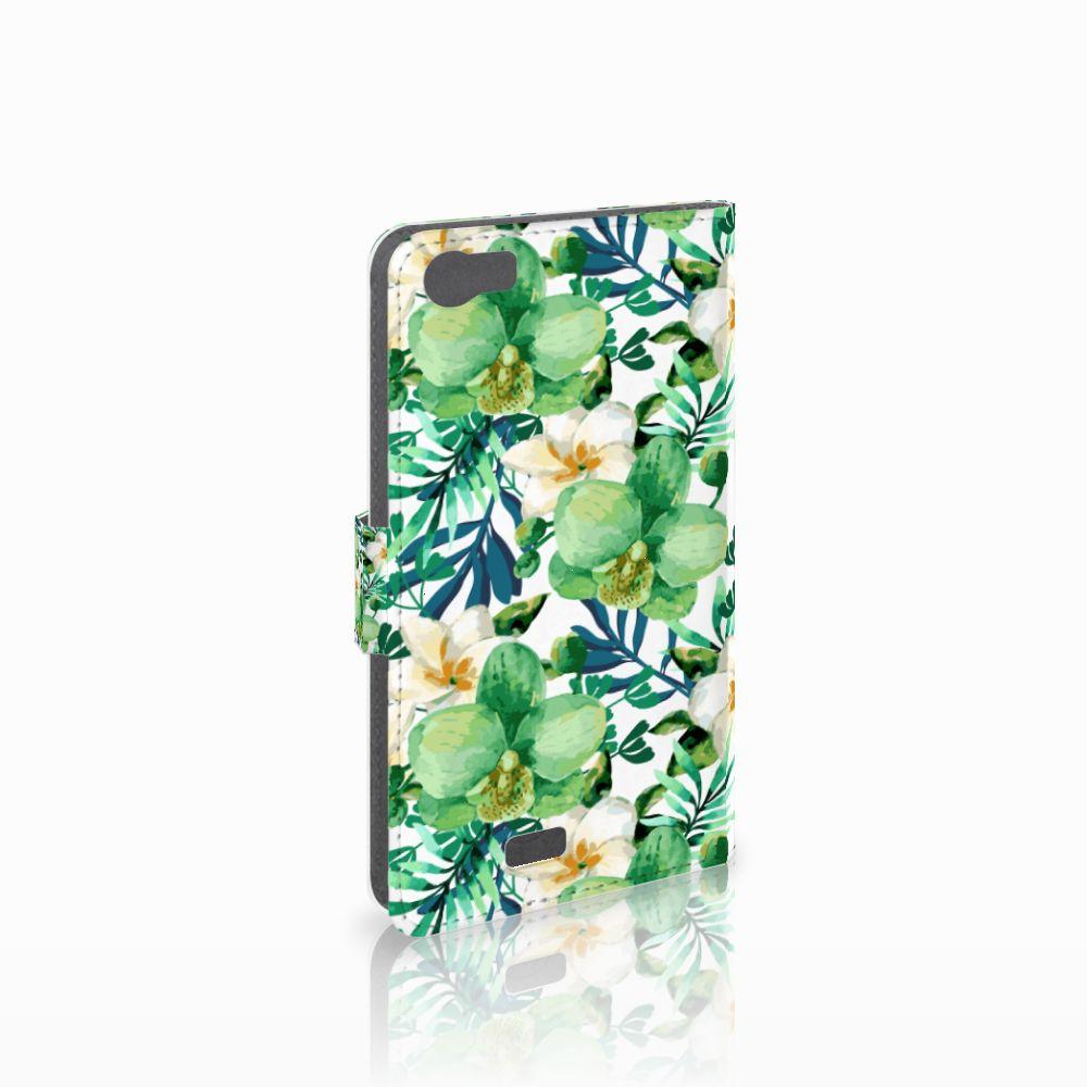 Wiko Lenny Uniek Boekhoesje Orchidee Groen