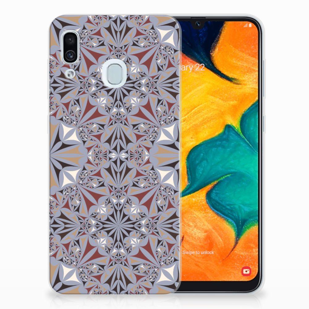 Samsung Galaxy A30 TPU Siliconen Hoesje Flower Tiles