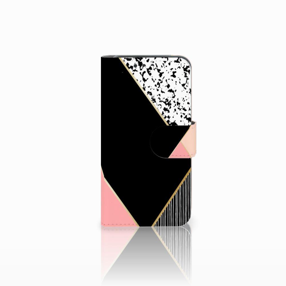 Huawei Y5 Y560 Uniek Boekhoesje Black Pink Shapes