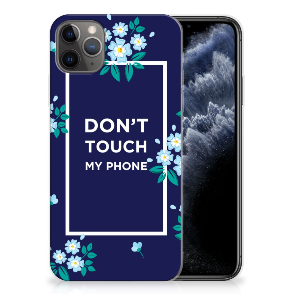 Apple iPhone 11 Pro Max Silicone-hoesje Flowers Blue DTMP