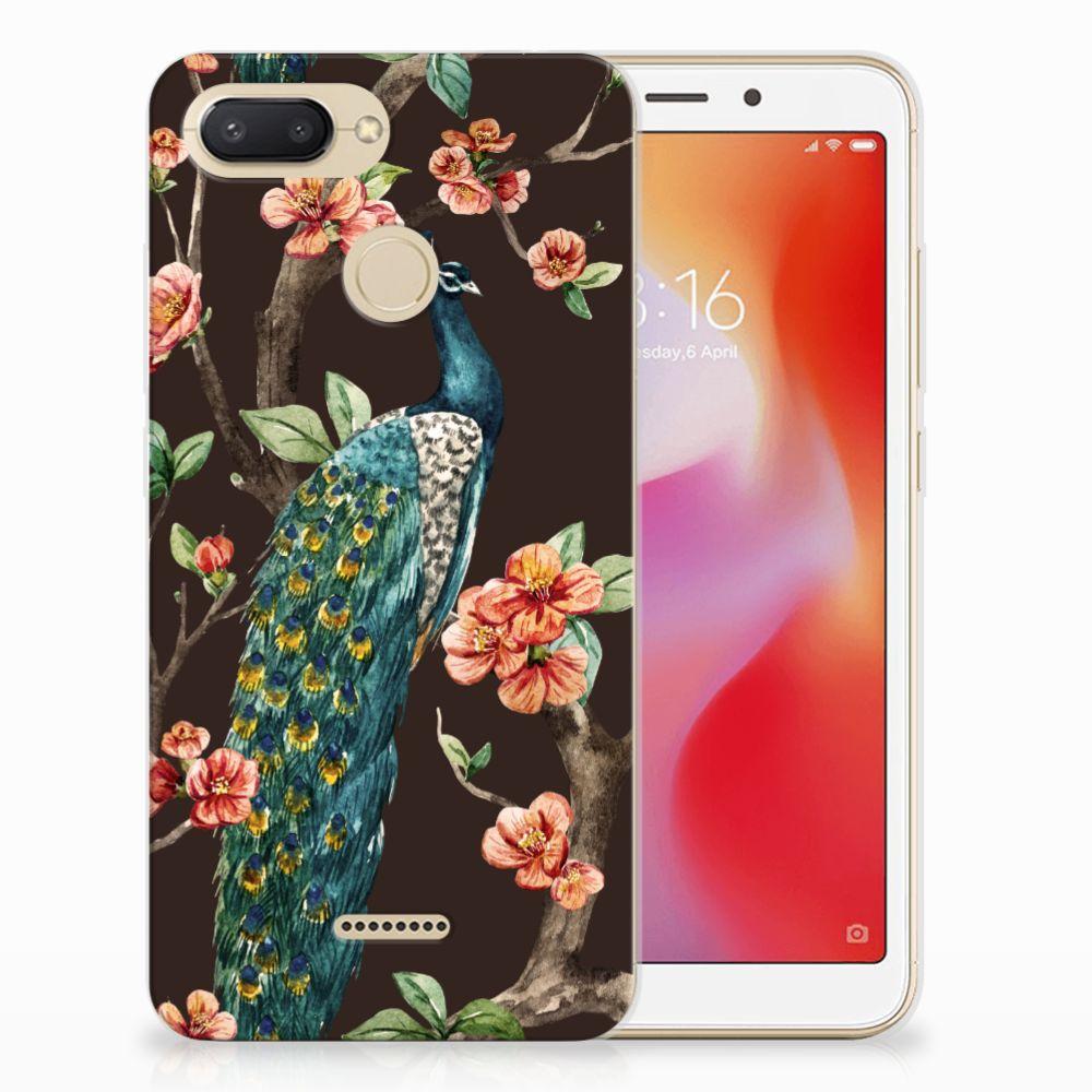 Xiaomi Redmi 6 TPU Hoesje Pauw met Bloemen