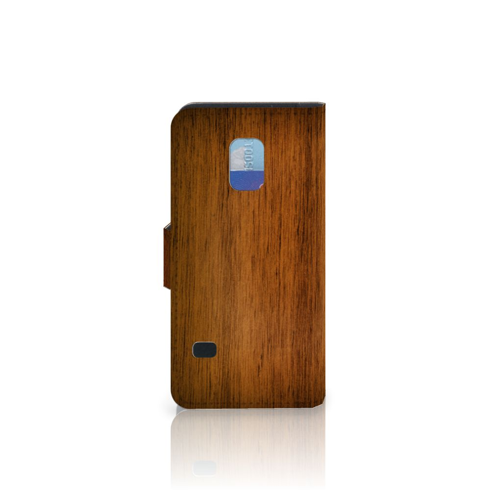 Samsung Galaxy S5 Mini Book Style Case Donker Hout