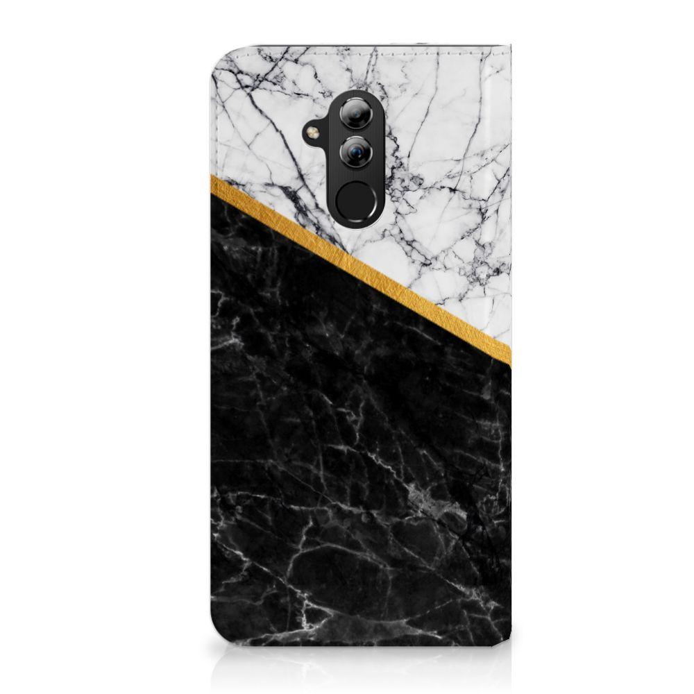 Huawei Mate 20 Lite Uniek Standcase Hoesje Marble White Black