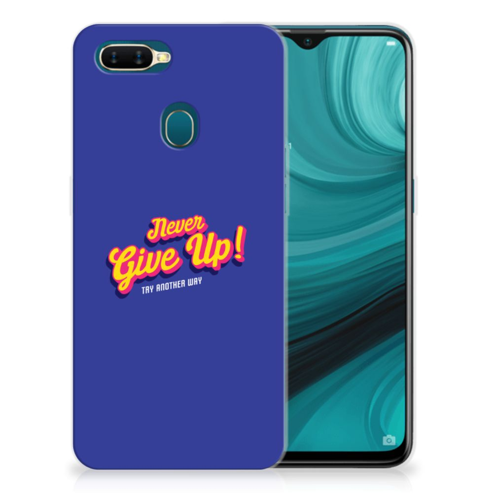 OPPO AX7 Siliconen hoesje met naam Never Give Up