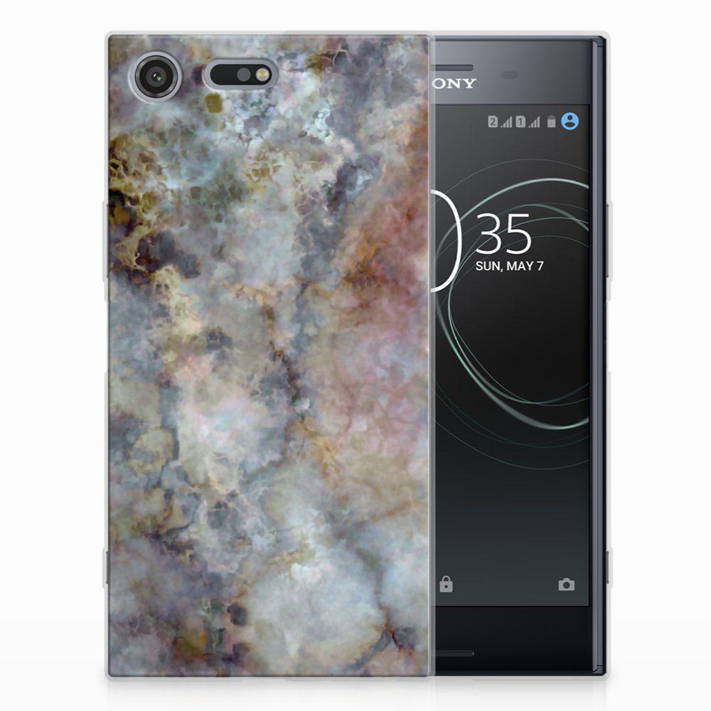 Sony Xperia XZ Premium TPU Siliconen Hoesje Marmer Grijs