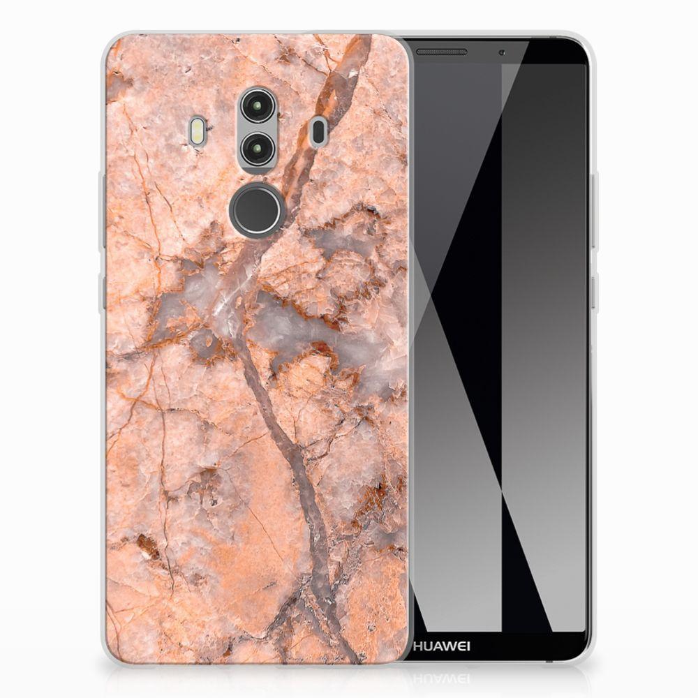 Huawei Mate 10 Pro TPU Siliconen Hoesje Marmer Oranje