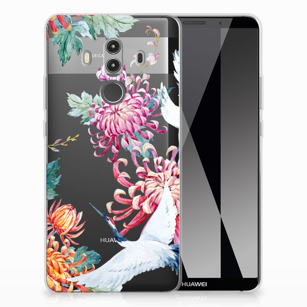 Huawei Mate 10 Pro Uniek TPU Hoesje Bird Flowers
