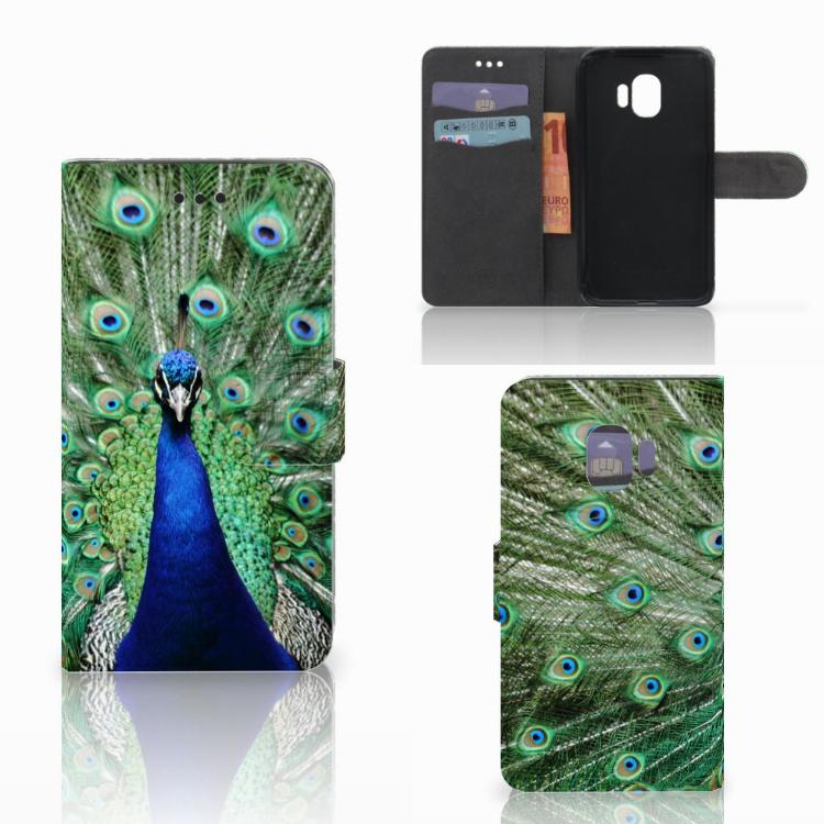 Samsung Galaxy J2 Pro 2018 Telefoonhoesje met Pasjes Pauw