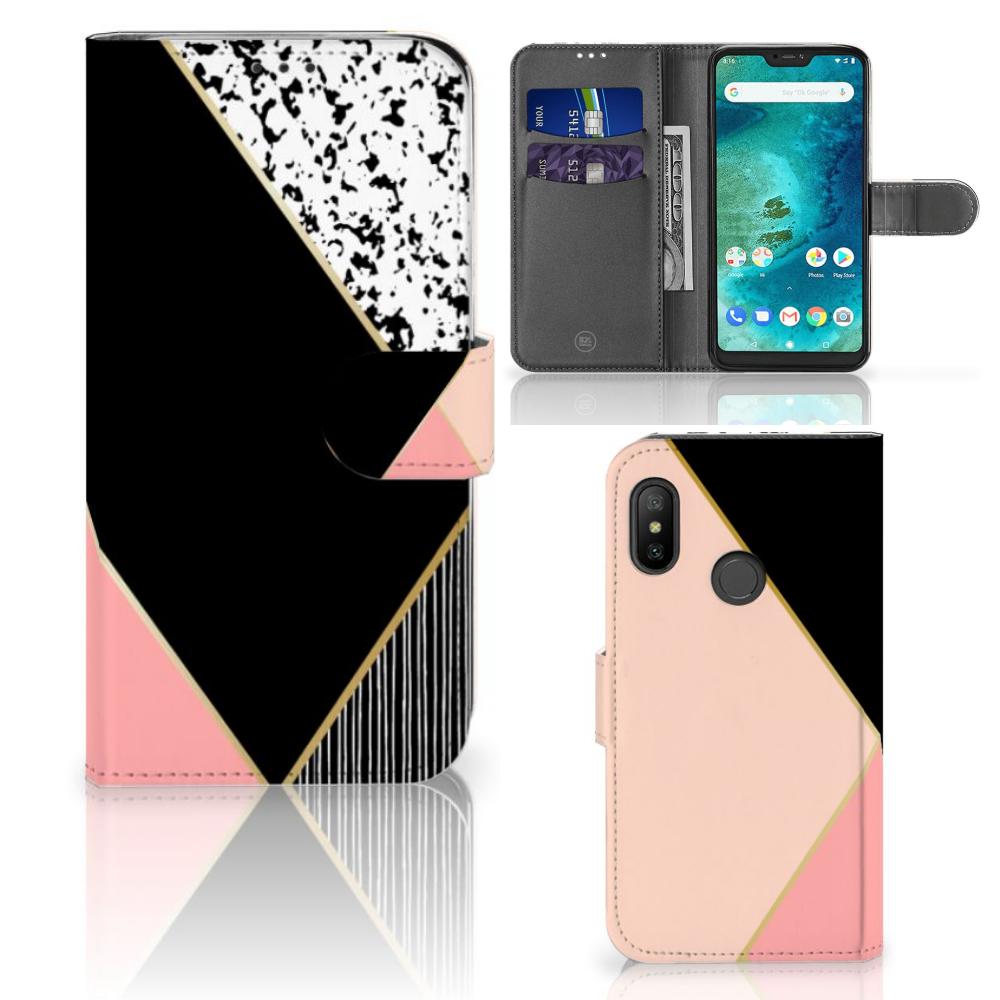 Xiaomi Mi A2 Lite Bookcase Zwart Roze Vormen