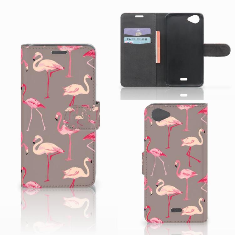 Wiko Rainbow Jam Telefoonhoesje met Pasjes Flamingo