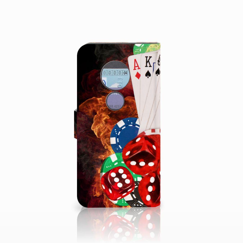Motorola Moto G6 Play Wallet Case met Pasjes Casino